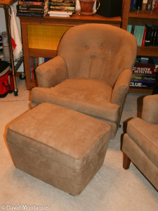 I reupholstered both chairs, and built and upholstered the ottoman.